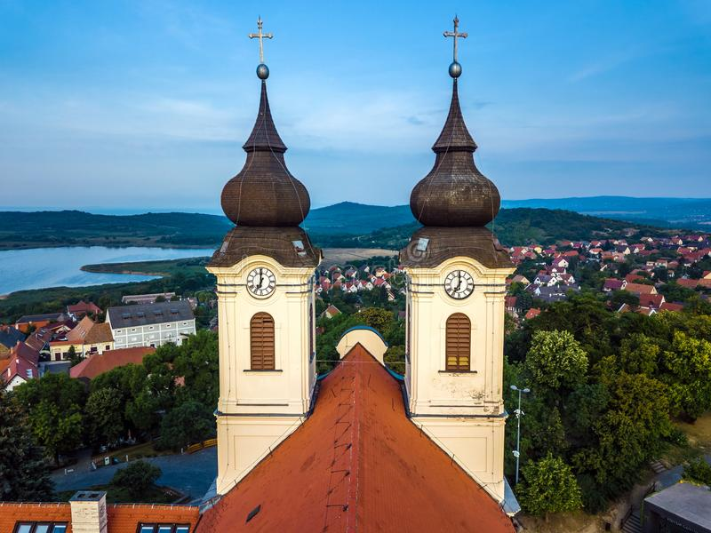 Tihany, Hungary - The two clock towers of the famous Benedictine Monastery of Tihany Tihany Abbey stock images