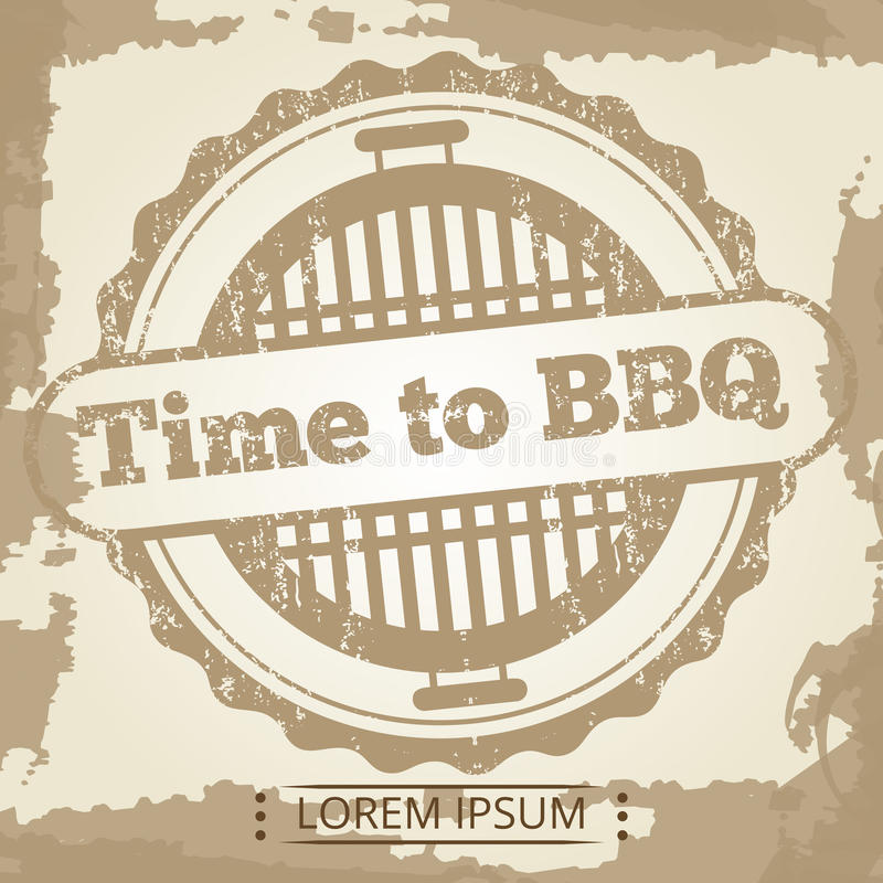 Tijd aan BBQ grunge achtergrond met etiket vector illustratie