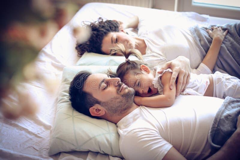 Tijd aan dag het dromen Gelukkige Familie stock afbeeldingen
