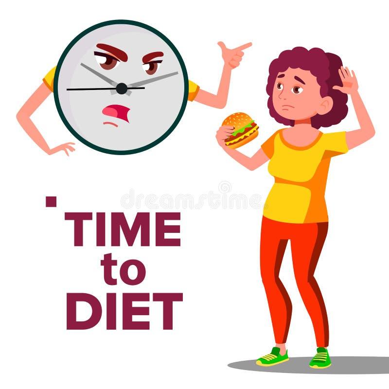 Tijd aan Dieetconcept, Muurklok die bij Meisje met Hamburgervector gillen Geïsoleerde beeldverhaalillustratie royalty-vrije illustratie