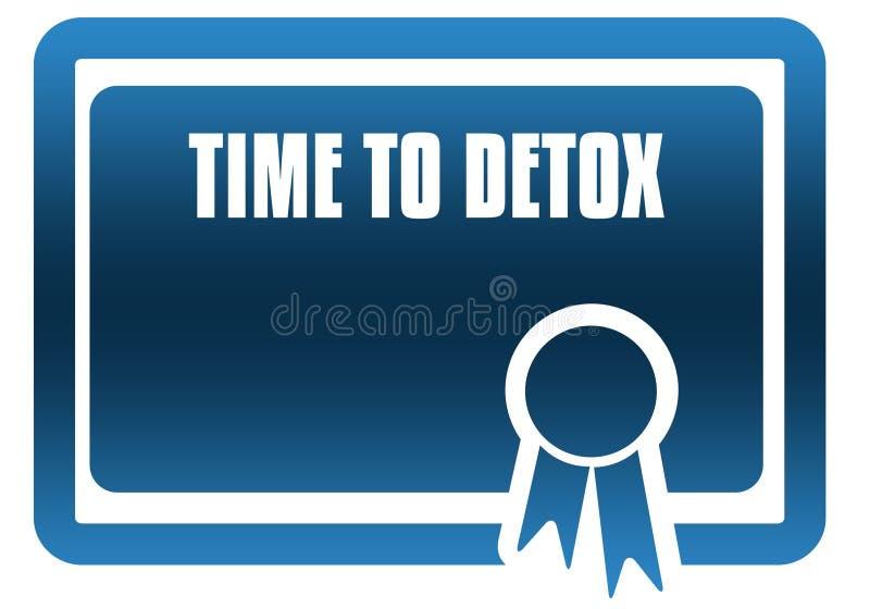 TIJD AAN het blauwe certificaat van DETOX vector illustratie