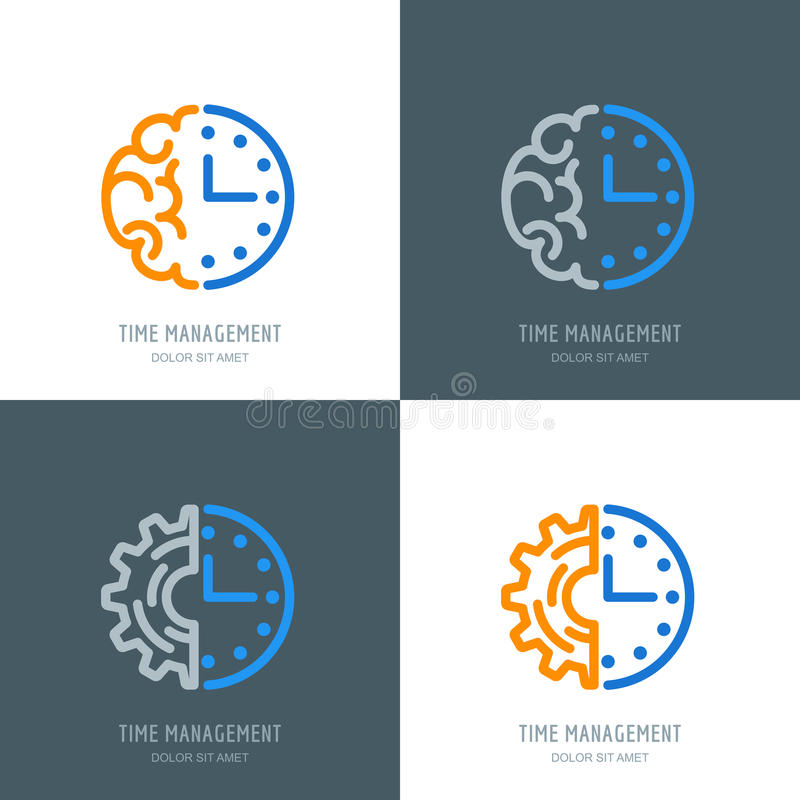 Tijd beheer en plannings bedrijfsconcept Vector geplaatst embleem of pictogrammen royalty-vrije illustratie