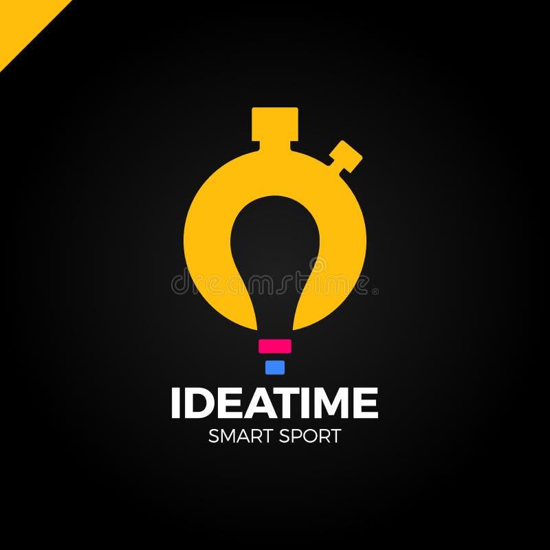 Tijd beheer en plannings bedrijfsconcept Vectorembleem of pictogramhorloge met bol in negatieve ruimte Idee slimme sport logotype stock illustratie