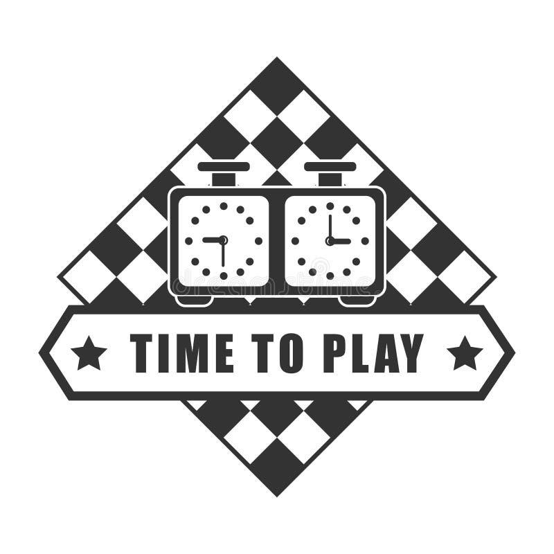Tijd die schaak logotype te spelen op wit wordt geïsoleerd vector illustratie