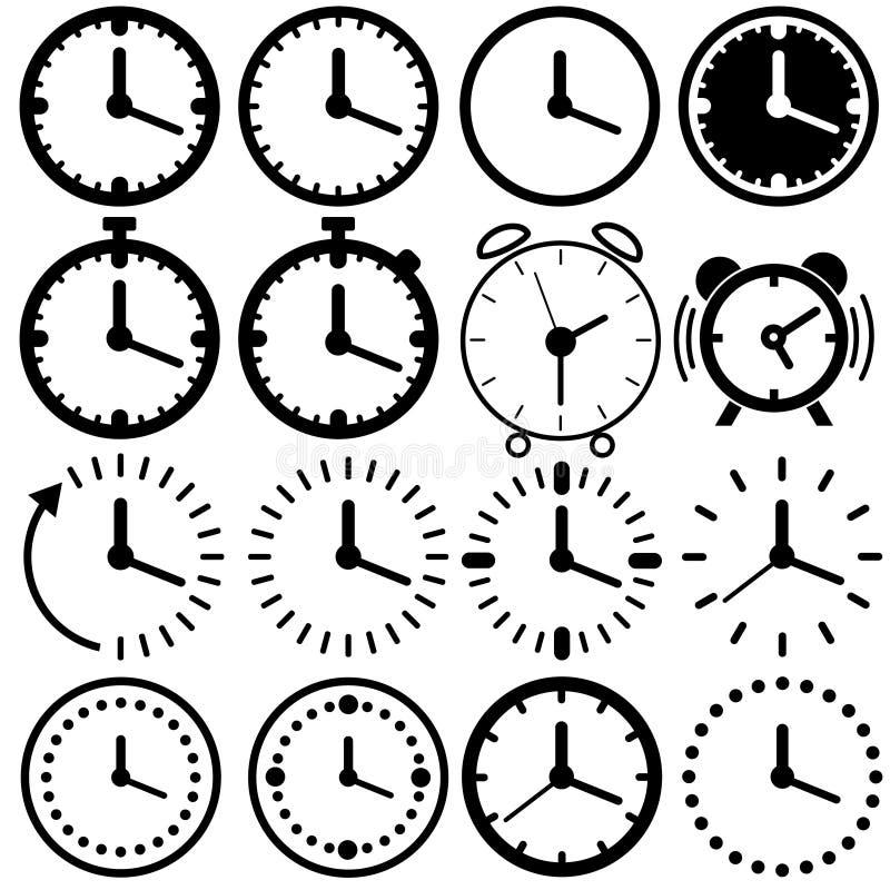 Tijd en de horloge verwante reeks van het lijnpictogram Vector illustratie royalty-vrije illustratie