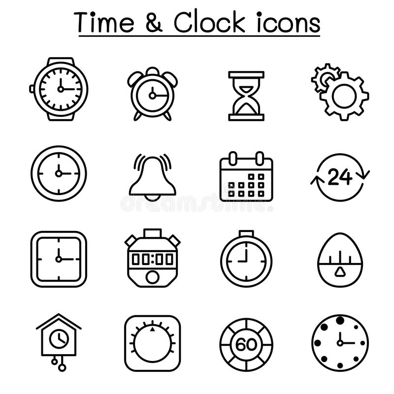Tijd & klokpictogram dat in dunne lijnstijl wordt geplaatst royalty-vrije illustratie