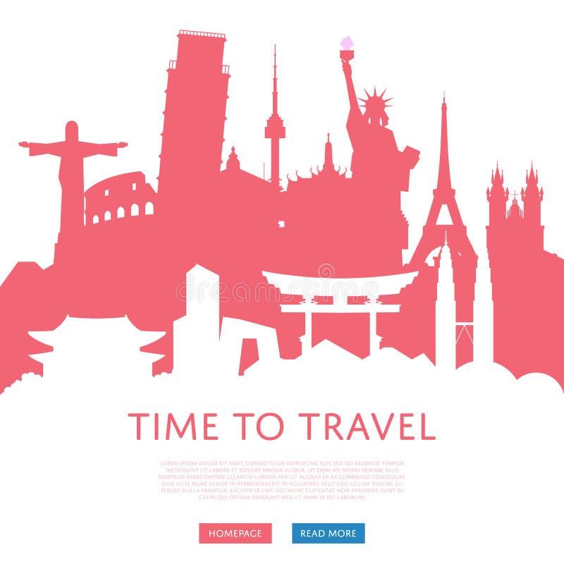 Tijd om concept met cityscape silhouetten te reizen royalty-vrije illustratie