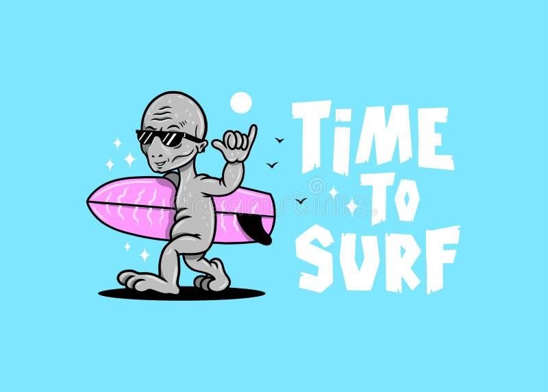 TIJD OM KOELE VREEMDE SHAKA-KLEUR TE SURFEN vector illustratie
