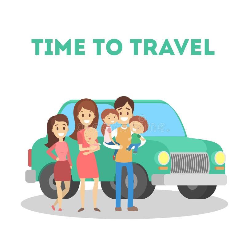 Tijd om met familie te reizen Gelukkige ouders en kinderen stock illustratie
