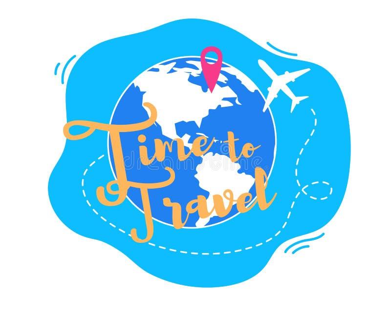 Tijd om rond Wereld Vlak Vectorconcept te reizen stock illustratie