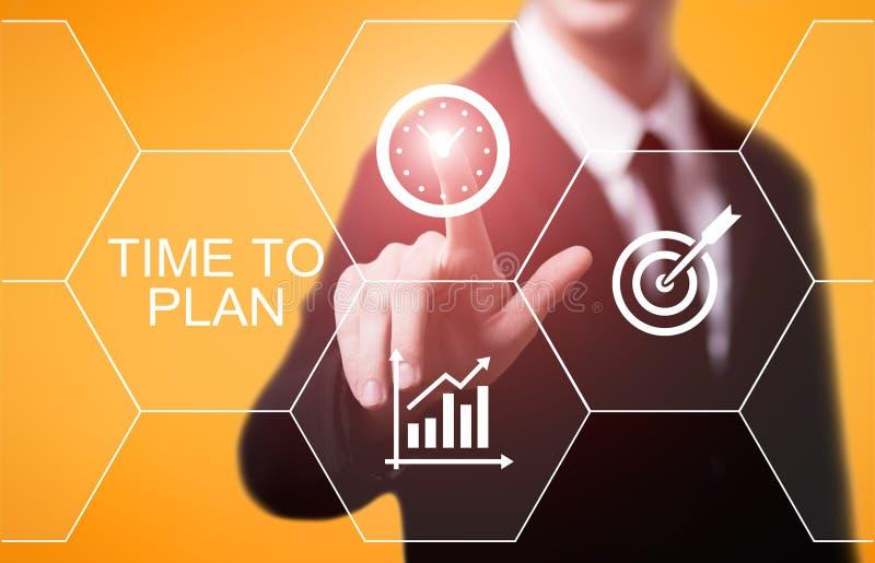 Tijd om van het het Bedrijfs projectdoel van het Strategiesucces te plannen het Concept van Technologieinternet royalty-vrije stock afbeelding