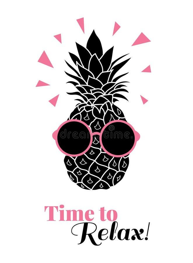Tijd om vectorananas te ontspannen die kleurrijke zonnebril op tropische lement van de de zomervakantie dragen Groot voor als the royalty-vrije illustratie