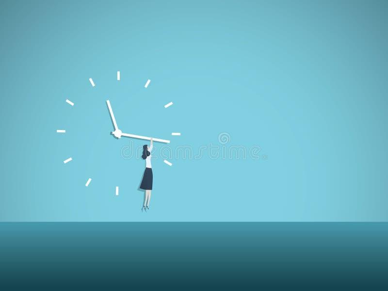 Tijd ` s op concept van de bewegings het vectorillustratie met vrouw het hangen op wijzerplaat Symbool van vooruitgang, gelijke k vector illustratie