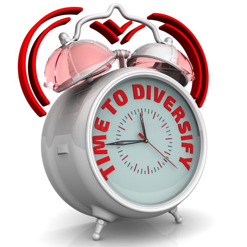 Tijd te diversifiëren De wekker met een inschrijving stock illustratie