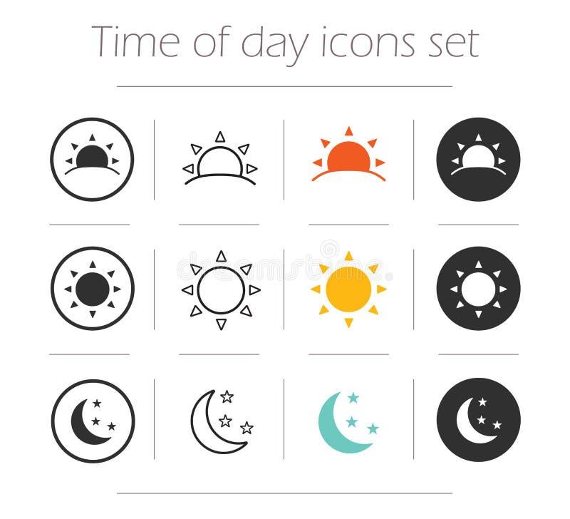 Tijd van de geplaatste dag eenvoudige pictogrammen vector illustratie