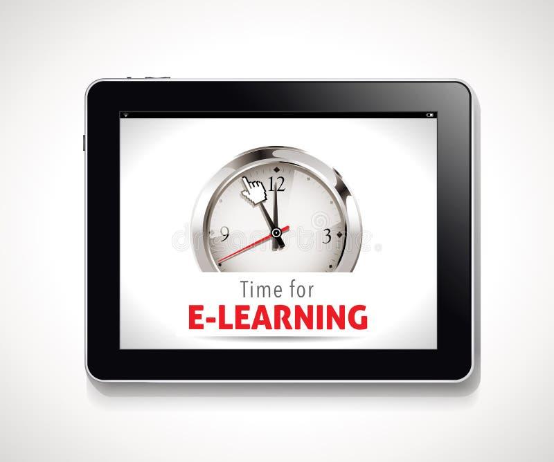 Tijd voor e-Lerend teken vector illustratie