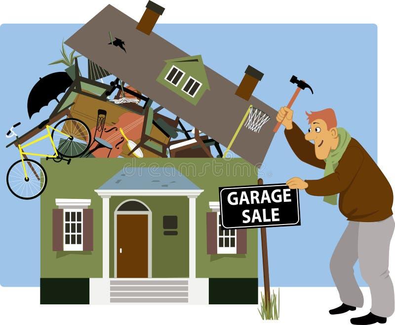 Tijd voor een garage sale stock illustratie