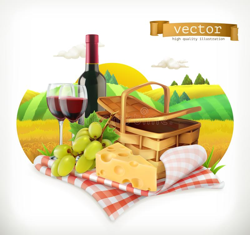 Tijd voor een een picknick, tafelkleed en picknickmand, wijnglazen, kaas en druiven, vectorillustratio stock illustratie