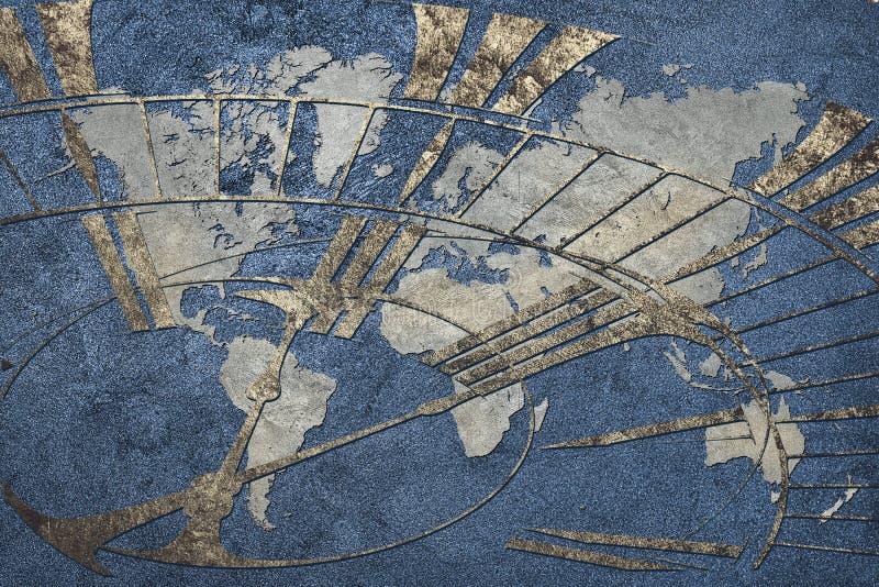 Tijd voor globale zaken Wereldkaart met een klok royalty-vrije stock fotografie