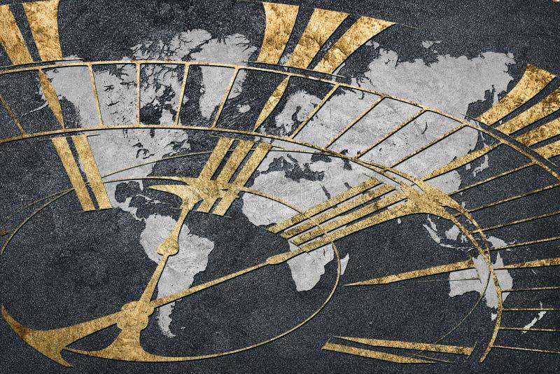 Tijd voor globale zaken Wereldkaart met een klok stock foto's
