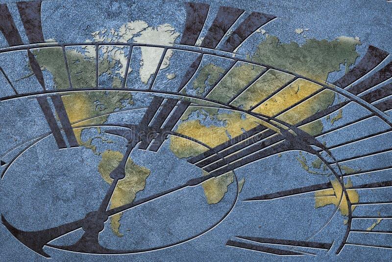 Tijd voor globale zaken Wereldkaart met een klok stock foto