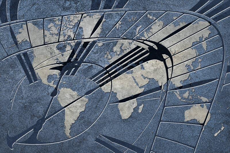 Tijd voor globale zaken Wereldkaart met een klok stock afbeeldingen