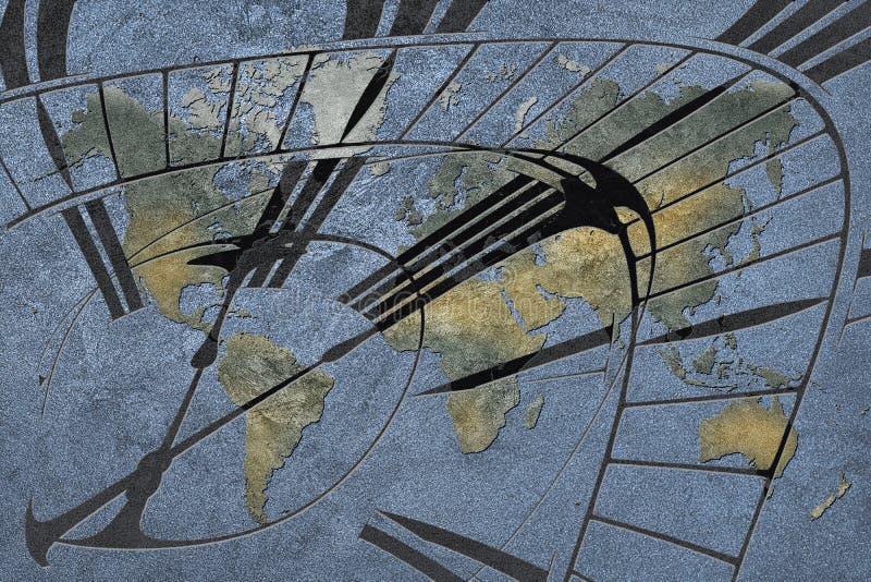 Tijd voor globale zaken Wereldkaart met een klok royalty-vrije stock afbeelding
