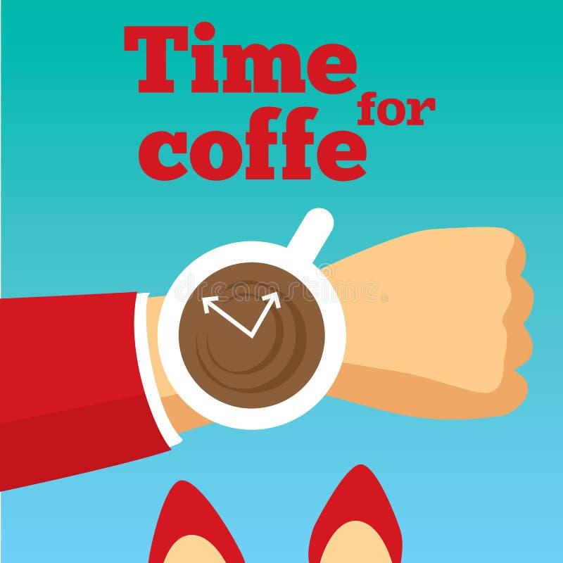 Tijd voor koffie vectorillustratie Ochtend royalty-vrije illustratie