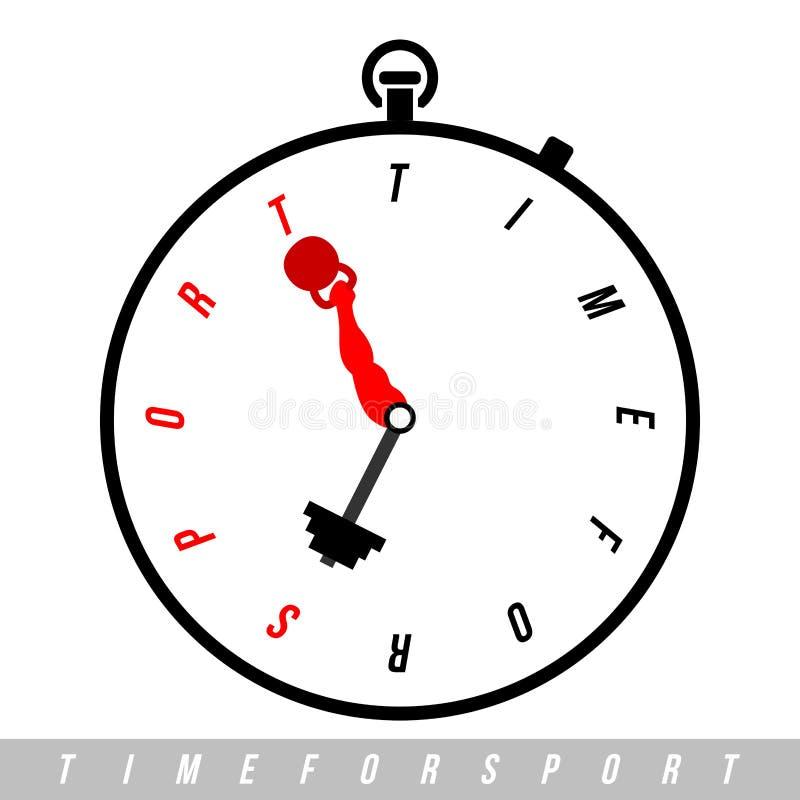 Tijd voor sport E Vectorhorloge stock illustratie