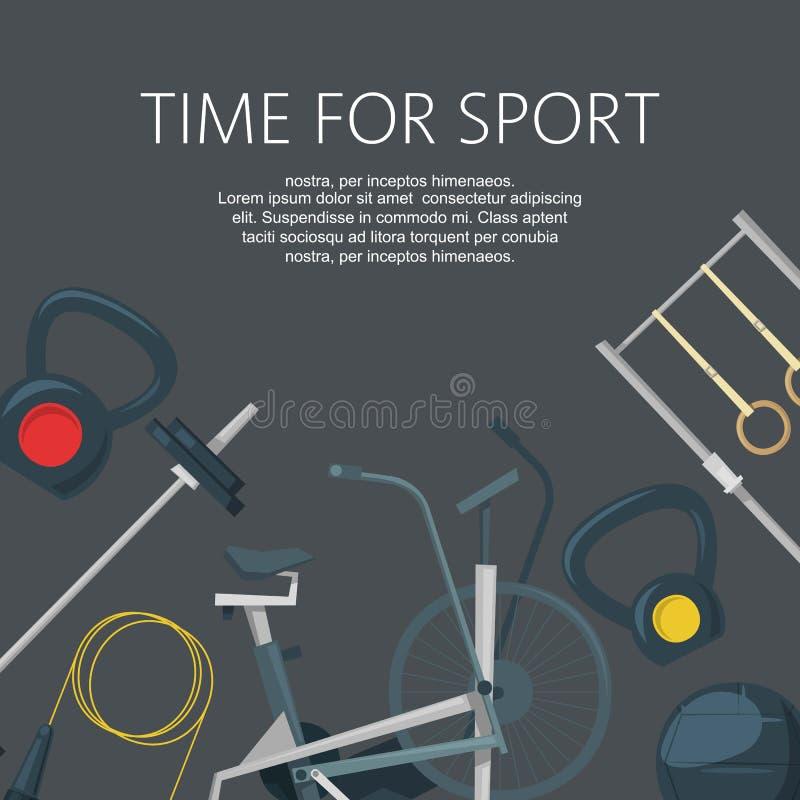 Tijd voor sport Geschiktheidstraining in club of centrum achtergrondbanner vectorillustratie Gymnastiek met crossfit, gewichten vector illustratie
