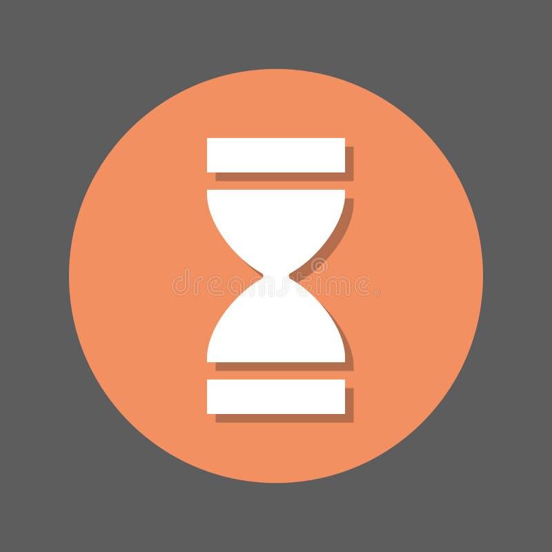 Tijd, Zandloper vlak pictogram Ronde kleurrijke knoop, cirkel vectorteken met schaduweffect Vlak stijlontwerp royalty-vrije illustratie