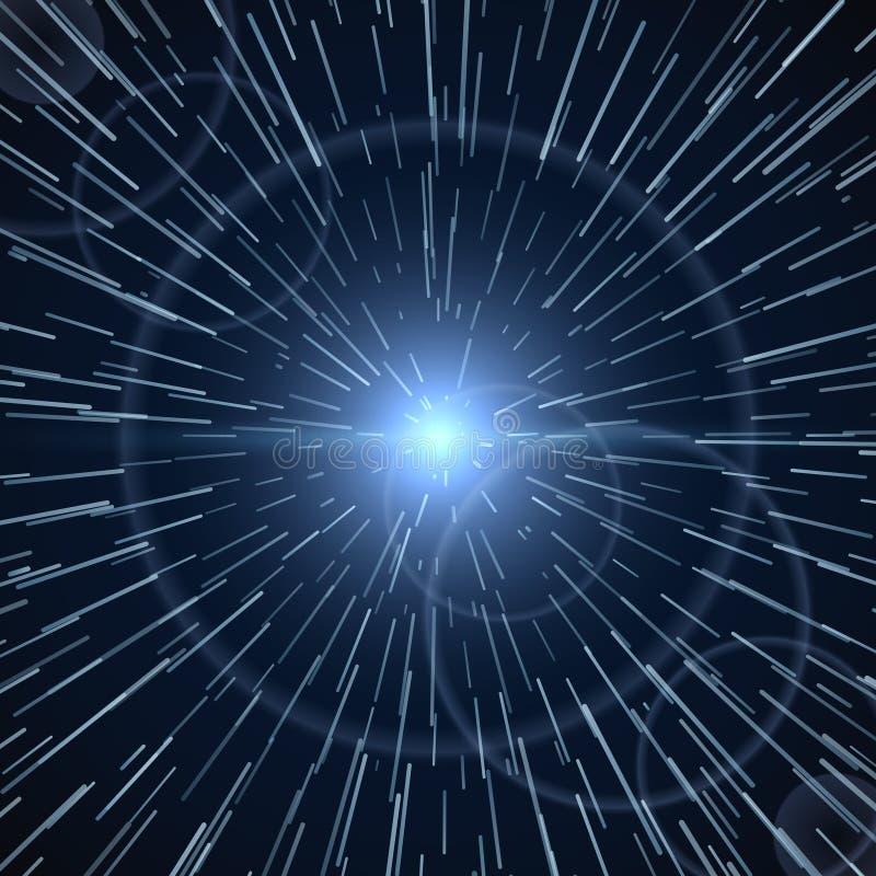 Tijdafwijking, heldere lichte witte zonnestraal vectorillustratie vector illustratie