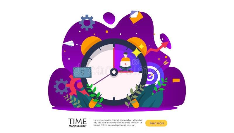 tijdbeheer en uitstelconcept planning en strategie voor bedrijfsoplossingen met klok, kalender en uiterst kleine mensen stock illustratie