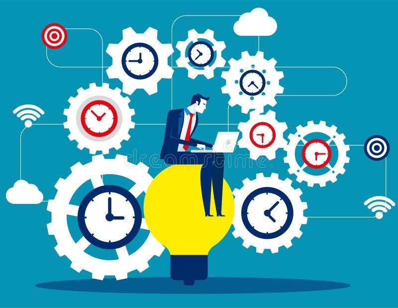 Tijdbeheer, Zakenmanzitting op bol en productiviteit, Concepten bedrijfs vectorillustratie, Vlak bedrijfsbeeldverhaal, Tijd, stock illustratie