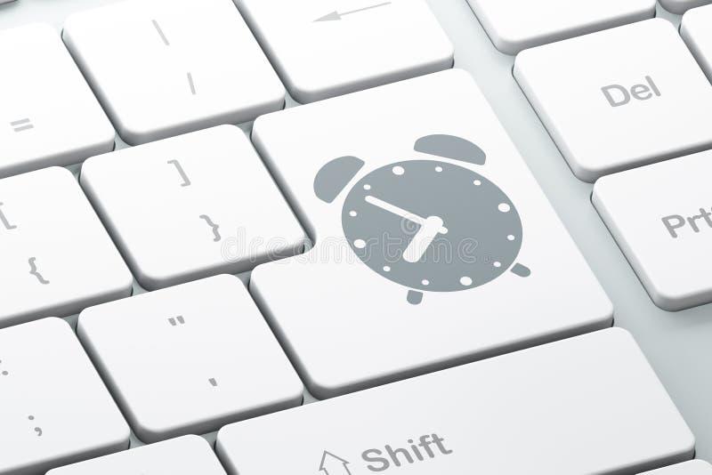 Tijdconcept: Wekker op computertoetsenbord royalty-vrije illustratie