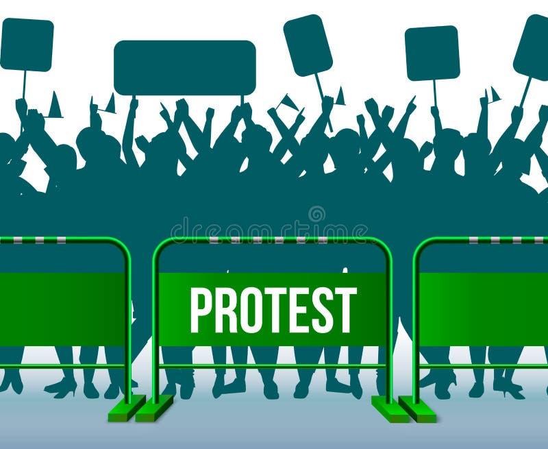 Tijdelijke het Schermen Barrière het Protesteren Menigtesamenstelling royalty-vrije illustratie