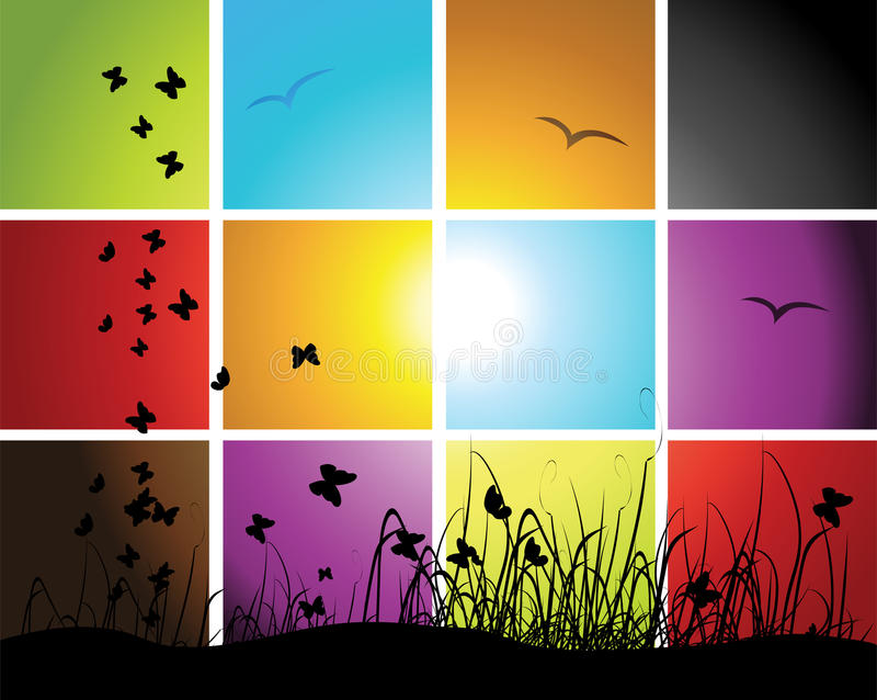 Tijden van dag, zonsondergang op weide vector illustratie