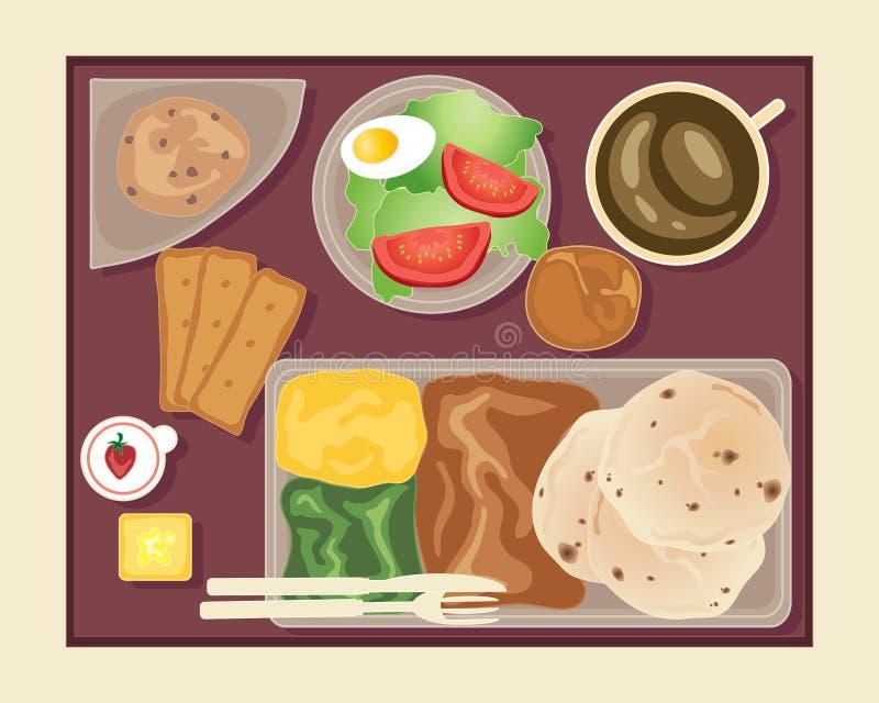 Tijdens de vlucht maaltijd stock illustratie