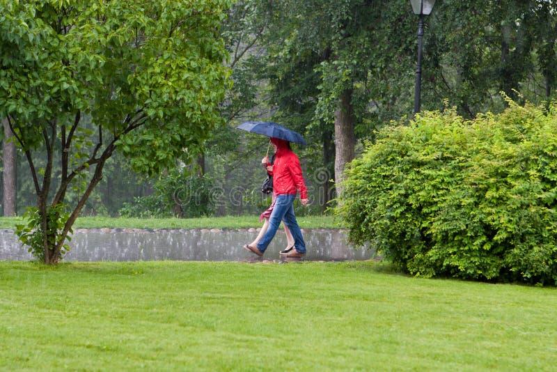 Tijdens een regen stock afbeeldingen