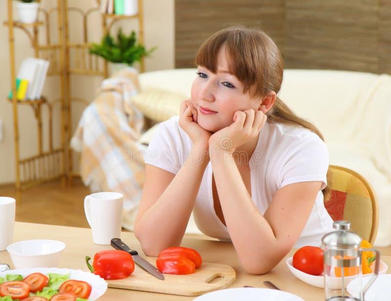 Tijdens ontbijt stock afbeelding