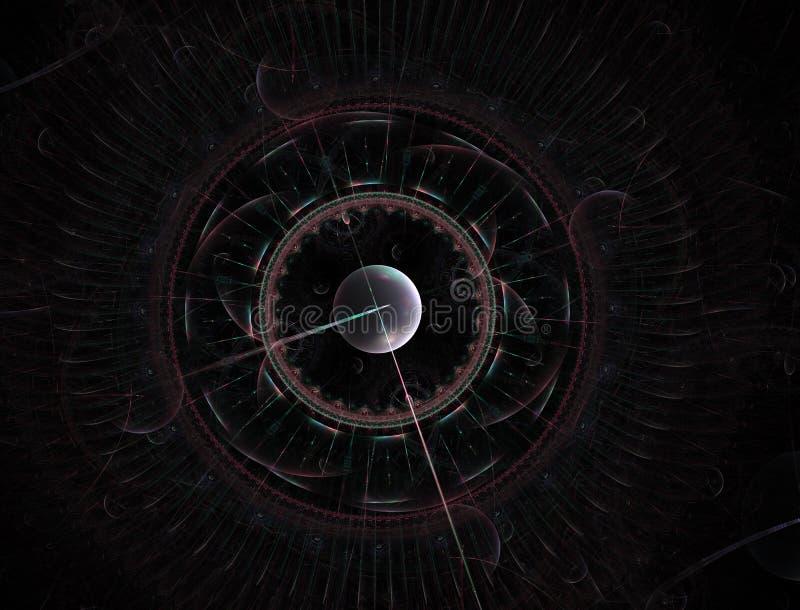 Tijdmachine Mechanisme van eeuwigheid 3D surreal illustratie Fractal Tijdreeks vector illustratie