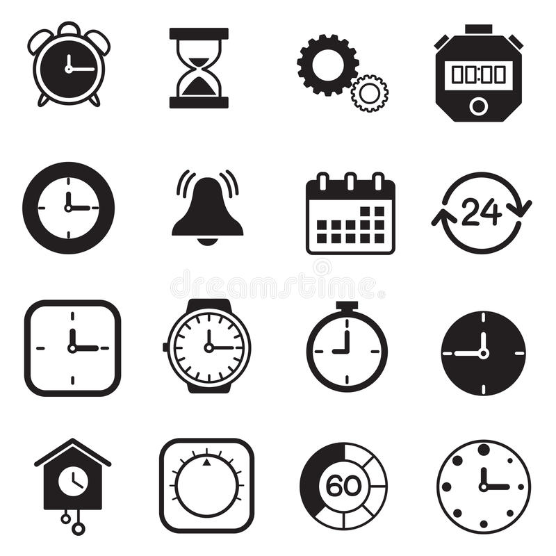 Tijdopnemer, horloge en Klokpictogrammen royalty-vrije illustratie