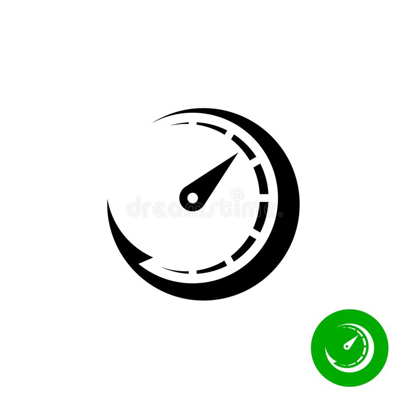 Tijdopnemer zwart pictogram De snelle groei van de schaalindicator stock illustratie