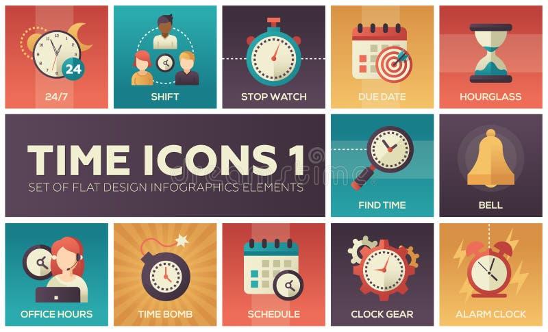 Tijdpictogrammen - moderne reeks vlakke elementen van ontwerpinfographics stock illustratie