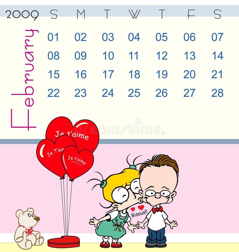 Tijdschema - februari 2009 vector illustratie