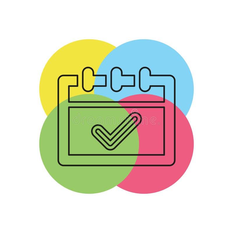 Tijdschema goedgekeurd pictogram - vinkjesymbool stock illustratie