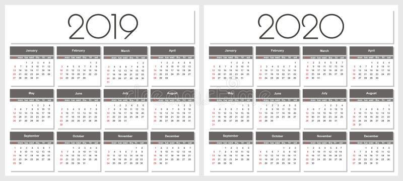 Tijdschema het jaar van 2019 en van 2020 stock illustratie