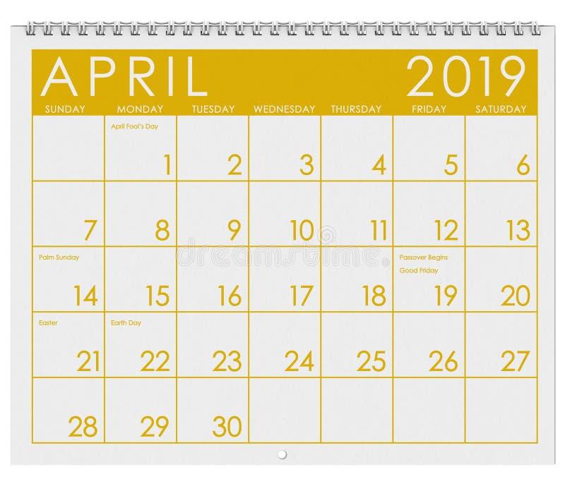 2019: Tijdschema: Maand van April vector illustratie