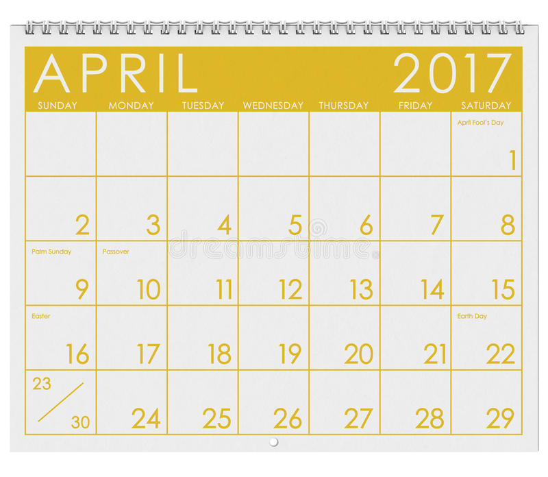 2017: Tijdschema: Maand van de Dag van April With April Fool ` s stock illustratie