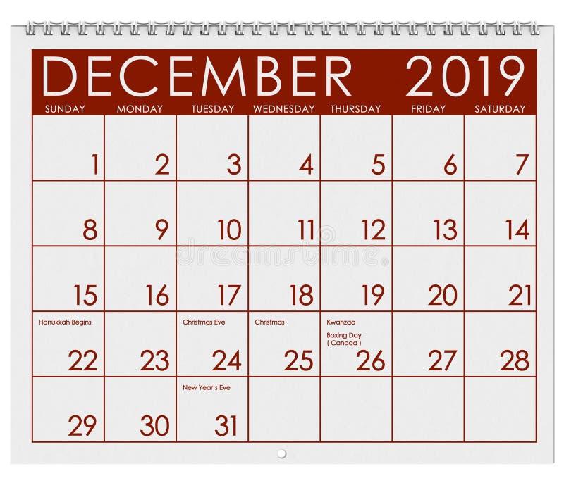 2019: Tijdschema: Maand van December vector illustratie